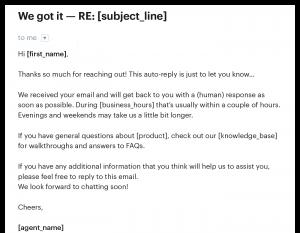 Sample autoresponder email in customer service